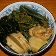 筍、ワラビ、油揚げ、若布の煮物