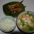 タバラ蟹と筍の味噌汁と赤魚の干物