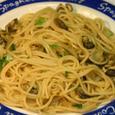 ナガラミに煮汁と身の和風スパゲテイー