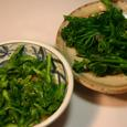 チンゲン菜の花芽とブロッコリーの脇芽の酢味噌和えと芥子和え
