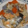 鮭の皮、孕みの炊き込みご飯