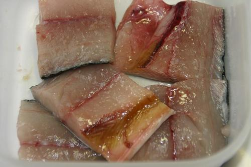 サゴシの切り身 薄い塩 西京漬け用