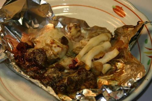 新しいスルメ烏賊の内臓とワタの塩焼き