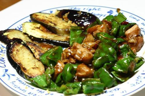 鶏、ピーマン、茄子の中華風